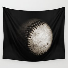 Battered Baseball in Black and White Wall Tapestry