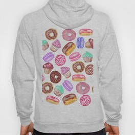 Yummy Hand Painted Watercolor Desserts Hoody