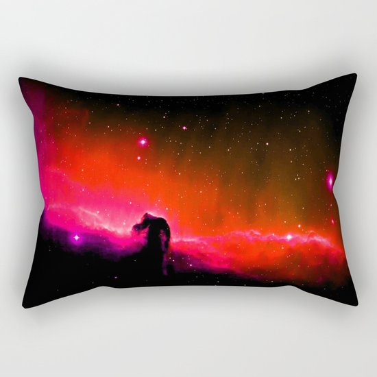 Horsehead NebULa : Coral Red Pink Rectangular Pillow