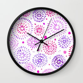 Abstract watercolor sparkles – ultraviolet and pink Wall Clock