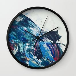 Flourish: a bold, colorful abstract piece in purple, gold, blues and white Wall Clock