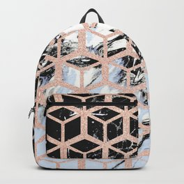 lilac marble with rose gold cube pattern Backpack