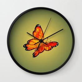 Orange Watercolor Butterfly Design Wall Clock