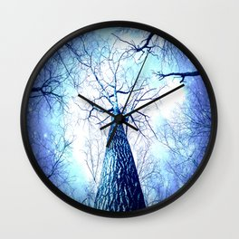 Winter's Coming : Wintry Trees Galaxy Skies Wall Clock