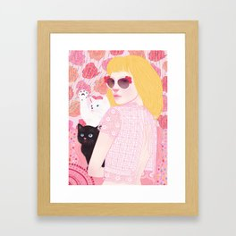 Hey there kitty! PINK Framed Art Print