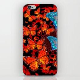 Decorative Blue Moths Orange Butterflies  Design iPhone Skin