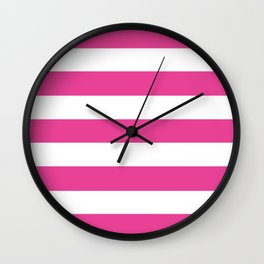Barbie Pink -  solid color - white stripes pattern Wall Clock