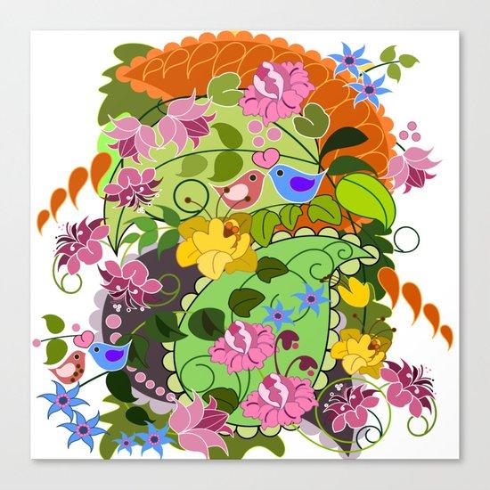 Retro Paisley shapes, damask flowers & Love birds Canvas Print