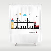 istanbul Shower Curtains featuring Istanbul.  by Irmak Berktas
