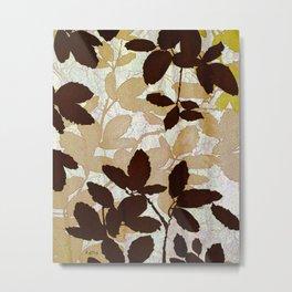 Leaf abstract wall art, earth tone colors Metal Print