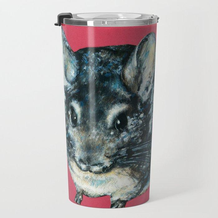 Chinchilla on red Travel Mug