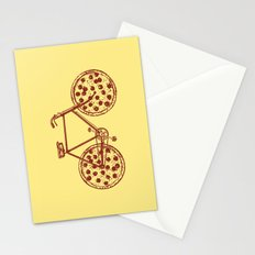 Bicycle with Pepperoni Pizza Tires Stationery Cards