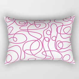 Doodle Line Art   Hot Pink Lines on White Background Rectangular Pillow