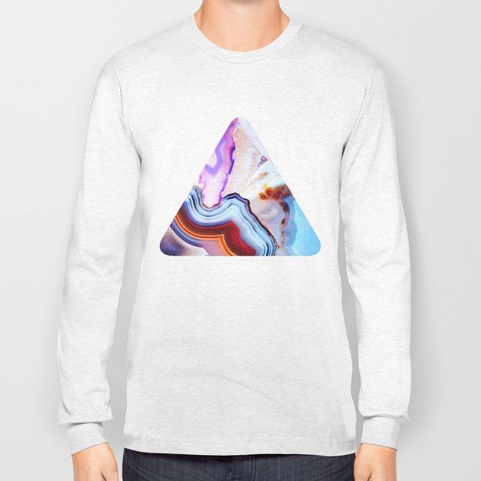 Agate, a vivid Metamorphic rock on Fire Long Sleeve T-shirt