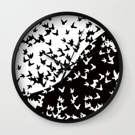 Flocks of birds. Allegory of day and night Wall Clock