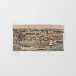 Vintage Pictorial Map of The 6th Street Wharf - Washington DC Hand & Bath Towel