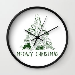 Meowy Christmas Cat Tree Wall Clock