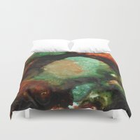 malachite Duvet Covers featuring Geode II, Malachite by Titania Designs