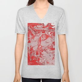 Red and white Marble texture acrylic Liquid paint art Unisex V-Neck