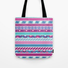 Abstract pink teal white geometrical floral patterns Tote Bag