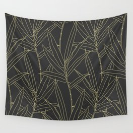 Elegant bamboo foliage gold strokes design Wall Tapestry