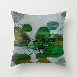River Rock Green Throw Pillow