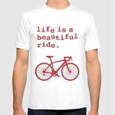 Life is a Beautiful Ride - Bike White MEDIUM Mens Fitted Tee