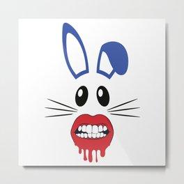 Halloween Rabbit Face Mask Quaratine Metal Print