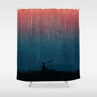 space Shower Curtains featuring Meteor rain by Picomodi