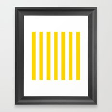 Vertical Stripes (Gold/White) Framed Art Print