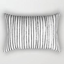 Black Dry Brush Line Pattern (Vertical) Rectangular Pillow