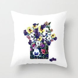 A pot of pansies Throw Pillow