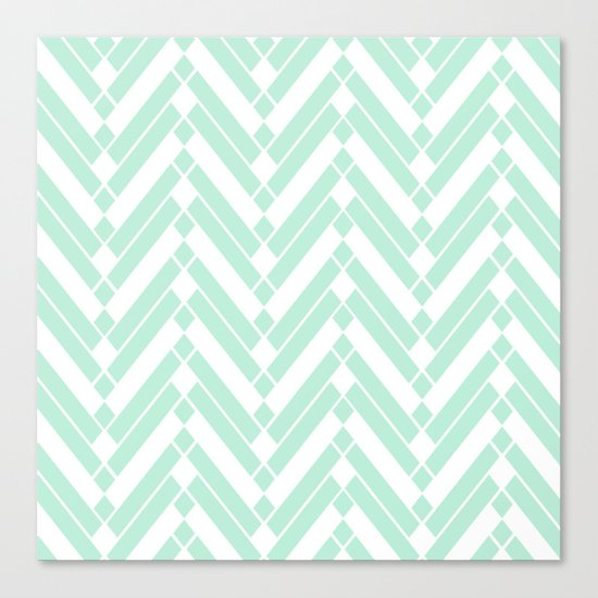 Chevron Herringbone ZigZag pattern - light mint green #Society6 Canvas Print