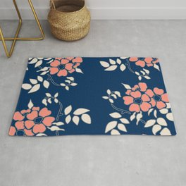 FLORAL IN BLUE AND CORAL Rug