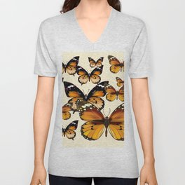 COFFEE & CREAM COLORED BROWN BUTTERFLIES Unisex V-Neck