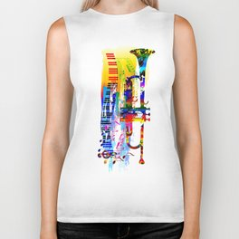 Abstract colorful music instrument painting.Trumpet, piano, musical notes, color splash, treble clef Biker Tank