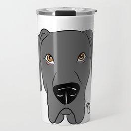 Blue Great Dane Face Travel Mug