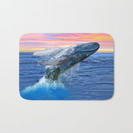 Breaching Humpback Whale at Sunset Bath Mat