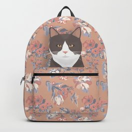 Gray Tuxedo Cat and Flowers Backpack