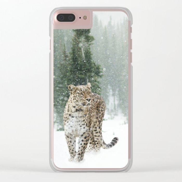 Leopard in the Snow Clear iPhone Case