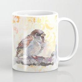 Sparrow in a Damask Autumn Coffee Mug