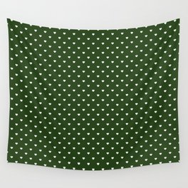Small White Polka Dot Hearts on Dark Forest Green Wall Tapestry