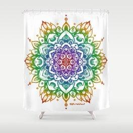 Grunge Feathered Mandala A - Rainbow Shower Curtain