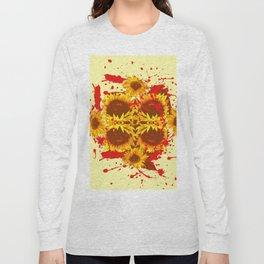 CAUTION: DANGEROUS SUNFLOWERS YELLOW-RED ART Long Sleeve T-shirt