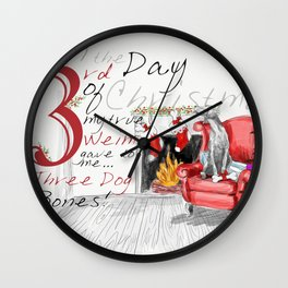 THIRD DAY OF CHRISTMAS WEIMS Wall Clock