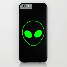 Bright Neon Green Alien Head on Black iPhone Case