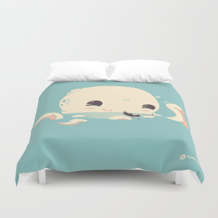 Adorable Octopus Battle Duvet Cover