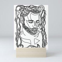 King of The Sea - Line Art  Mini Art Print