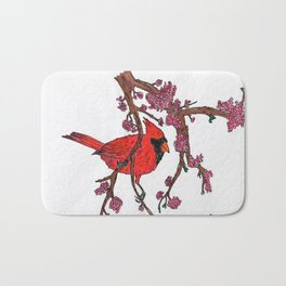 Cardinal on Redbud Branch Bath Mat