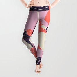 Modern abstract coral purple beige color trend camo camouflage stripes polka dots pattern Leggings